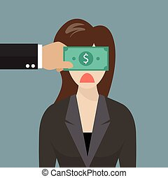 Business woman with dollar banknote taped to eyes. Business...