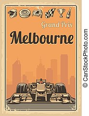 Vintage poster Grand Prix Melbourne - Set symbols - racing...