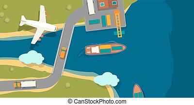 Illustration of a cargo port in flat vector style. Top view....