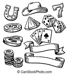 Casino set symbols and stetson. Black and white vintage...