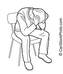 Overworked businessman is under stress with headache....