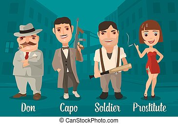 Set person Mafia Don, capo, soldier, prostitute Vector flat...