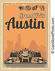Vintage poster Grand Prix Austin - Set symbols - racing...