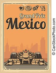 Vintage poster Grand Prix Mexico - Set symbols - racing...
