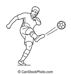 Soccer player man playing football jumping with ball.  Vector black illustration on white  white background