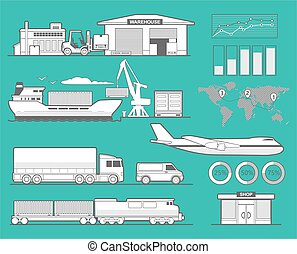 Warehouse, airplane, ship, truck, train, car. Black and white vector illustration for business, info graphic, web, banner