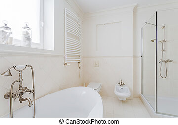 Barthroom in modern expensive house - White sunny bathroom...
