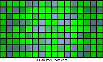 Flashing squares in green and grey colors