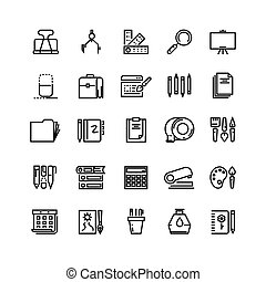 Office stationery, drawing and writing line vector icons
