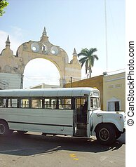 old bus front arch in merida city in Mexico traditional...