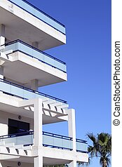 Mediterranean architecture detail white and blue -...
