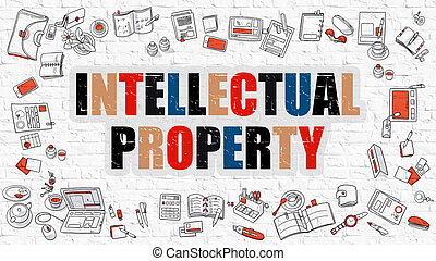 Intellectual Property Concept with Doodle Design Icons -...