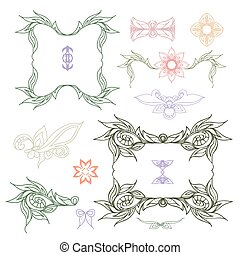 Collection of hand drawn Doodle design elements, colored...