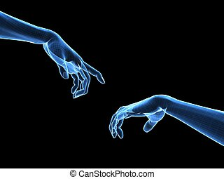 3d hands - wireframe - 3d rendered illustration of two human...