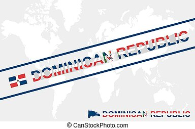 Dominican Republic map flag and text illustration