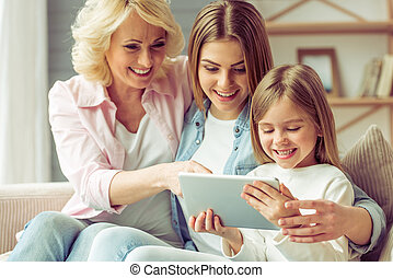 Granny, mom and daughter - Granny, her daughter and...
