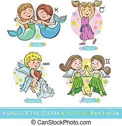 Zodiac signs 1 - Children representing the signs of the...
