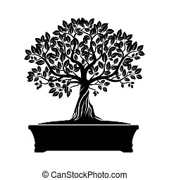 Green Vector Olive Tree. Illustration of Bonsai.