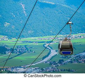 Summer Alpine Cable Car - A Cable Car On An Alpine...