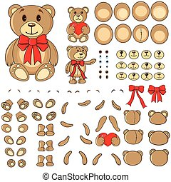 Applique, body parts of a bear