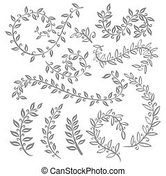 Monochrome vintage set with herbs. Sketch of flowers and herbs. Illustration for greeting cards, invitations, and other printing and web projects.