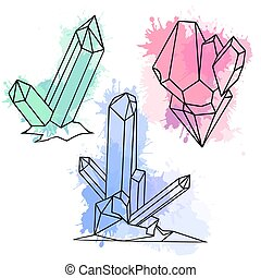 Set of various cartoon crystals with watercolor splashes. Vector elements for your creativity