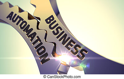 Business Automation Concept. Golden Gears. - Business...