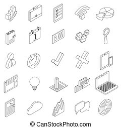 Office equipment icons set, isometric 3d style