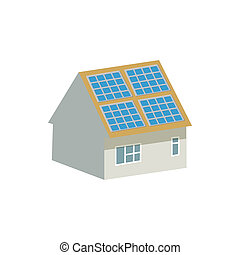 House with solar batteries on the roof icon