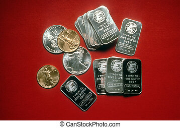 Precious Metal and Coin Currency - American currency in the...