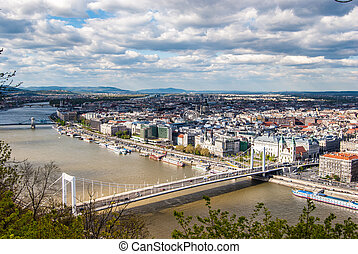 Peautiful panorama of Budapest city with Danube river,...