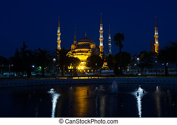View of the Blue Mosque (Sultanahmet Camii) at night in...