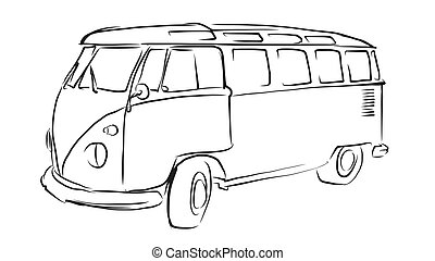 Old Transporter Sketch, Vector Drawing