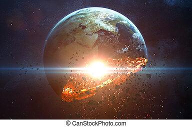Apocalyptic background - planet Earth exploding, armageddon...