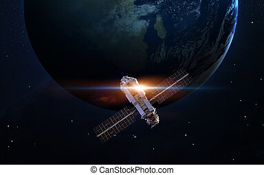 Nave espacial, lanzamiento, en, Space., elementos, de, esto,...