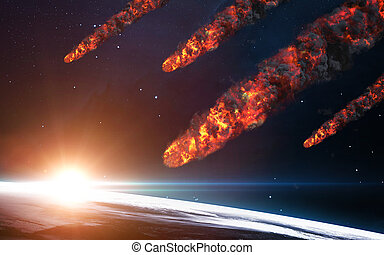 Meteor shower Elements of this image furnished by NASA