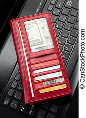 Red Wallet and keyboard - Red Wallet, Credit Card and...