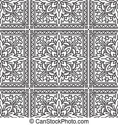 Seamless Square Abstract Tribal Black-White Pattern In Mono...