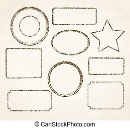 Set of 9 grunge vector templates for rubber stamps on old paper background