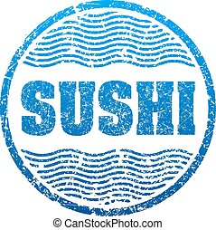 Sushi blue grunge style rubber stamp