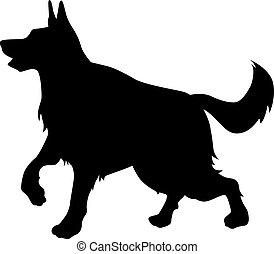 German sheepdog silhouette - Vector silhouette of a big dog