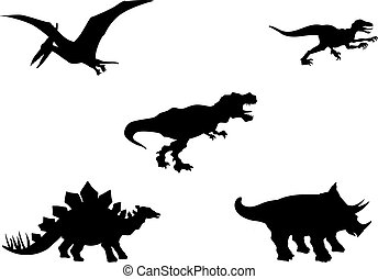 Dinosaurs vector silhouettes - Vector silhouettes of five...