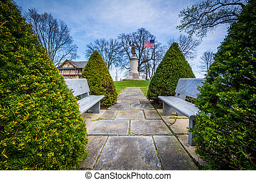 Benches and the Francis Scott Key Burial Site at Mount...
