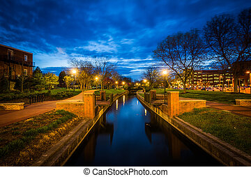 Carroll Creek at night, at Carroll Creek Linear Park, in...