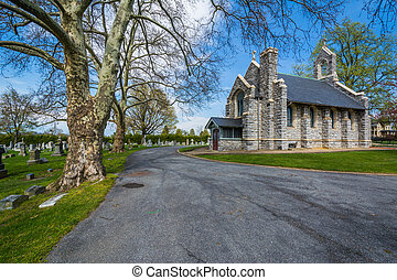 Chapel and road at Mount Olivet Cemetery in Frederick,...