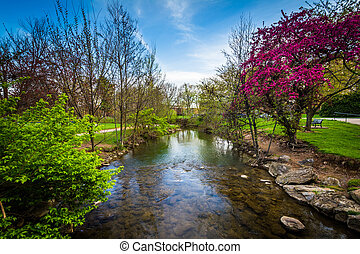 Carroll Creek at Baker Park, in Frederick, Maryland.