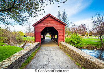 Covered bridge at Baker Park, in Frederick, Maryland.