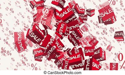 Flying cubes in red with an inscription sale on white