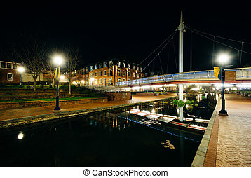 Modern bridge over Carroll Creek at night, at Carroll Creek...