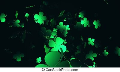 Clover in green on black